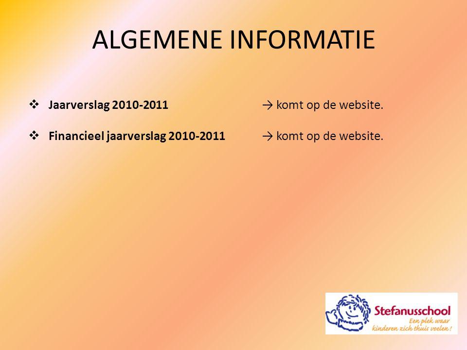 ALGEMENE INFORMATIE  Jaarverslag 2010-2011→ komt op de website.  Financieel jaarverslag 2010-2011→ komt op de website.