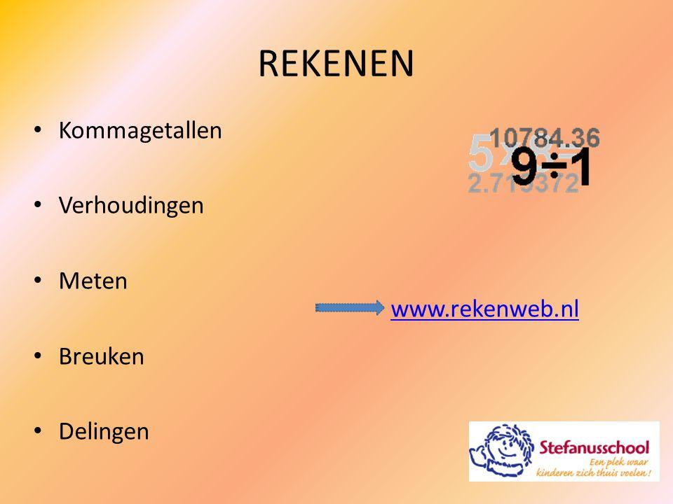 REKENEN Kommagetallen Verhoudingen Meten Breuken Delingen www.rekenweb.nl