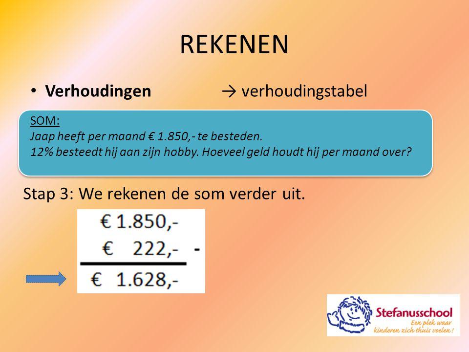 Verhoudingen→ verhoudingstabel SOM: Jaap heeft per maand € 1.850,- te besteden. 12% besteedt hij aan zijn hobby. Hoeveel geld houdt hij per maand over