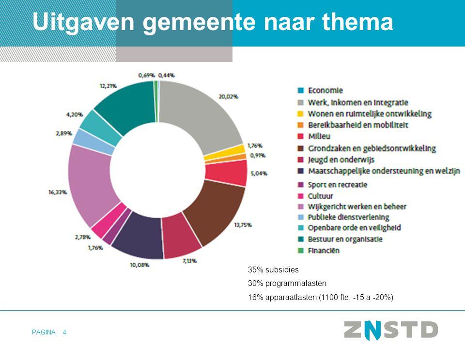 PAGINA4 Uitgaven gemeente naar thema 35% subsidies 30% programmalasten 16% apparaatlasten (1100 fte: -15 a -20%)