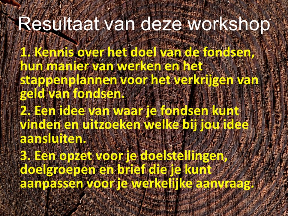 Resultaat van deze workshop 1. Kennis over het doel van de fondsen, hun manier van werken en het stappenplannen voor het verkrijgen van geld van fonds