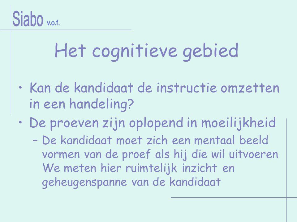 Het cognitieve gebied Kan de kandidaat de instructie omzetten in een handeling? De proeven zijn oplopend in moeilijkheid –De kandidaat moet zich een m