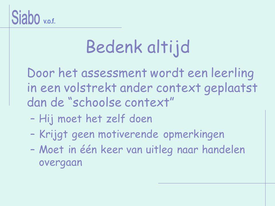 """Bedenk altijd Door het assessment wordt een leerling in een volstrekt ander context geplaatst dan de """"schoolse context"""" –Hij moet het zelf doen –Krijg"""