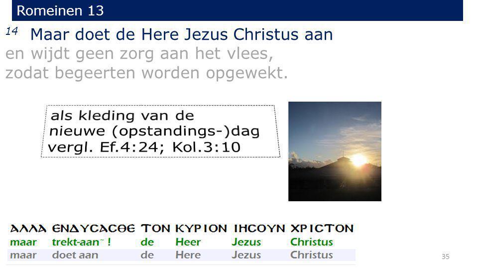 14 Maar doet de Here Jezus Christus aan en wijdt geen zorg aan het vlees, zodat begeerten worden opgewekt. Romeinen 13 35