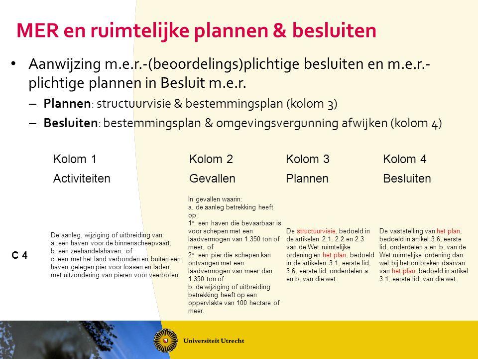 MER en ruimtelijke plannen & besluiten Aanwijzing m.e.r.-(beoordelings)plichtige besluiten en m.e.r.- plichtige plannen in Besluit m.e.r. – Plannen: s