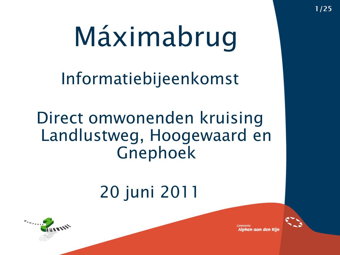 Informatiebijeenkomst Direct omwonenden kruising Landlustweg, Hoogewaard en Gnephoek 20 juni 2011 Máximabrug 1/25