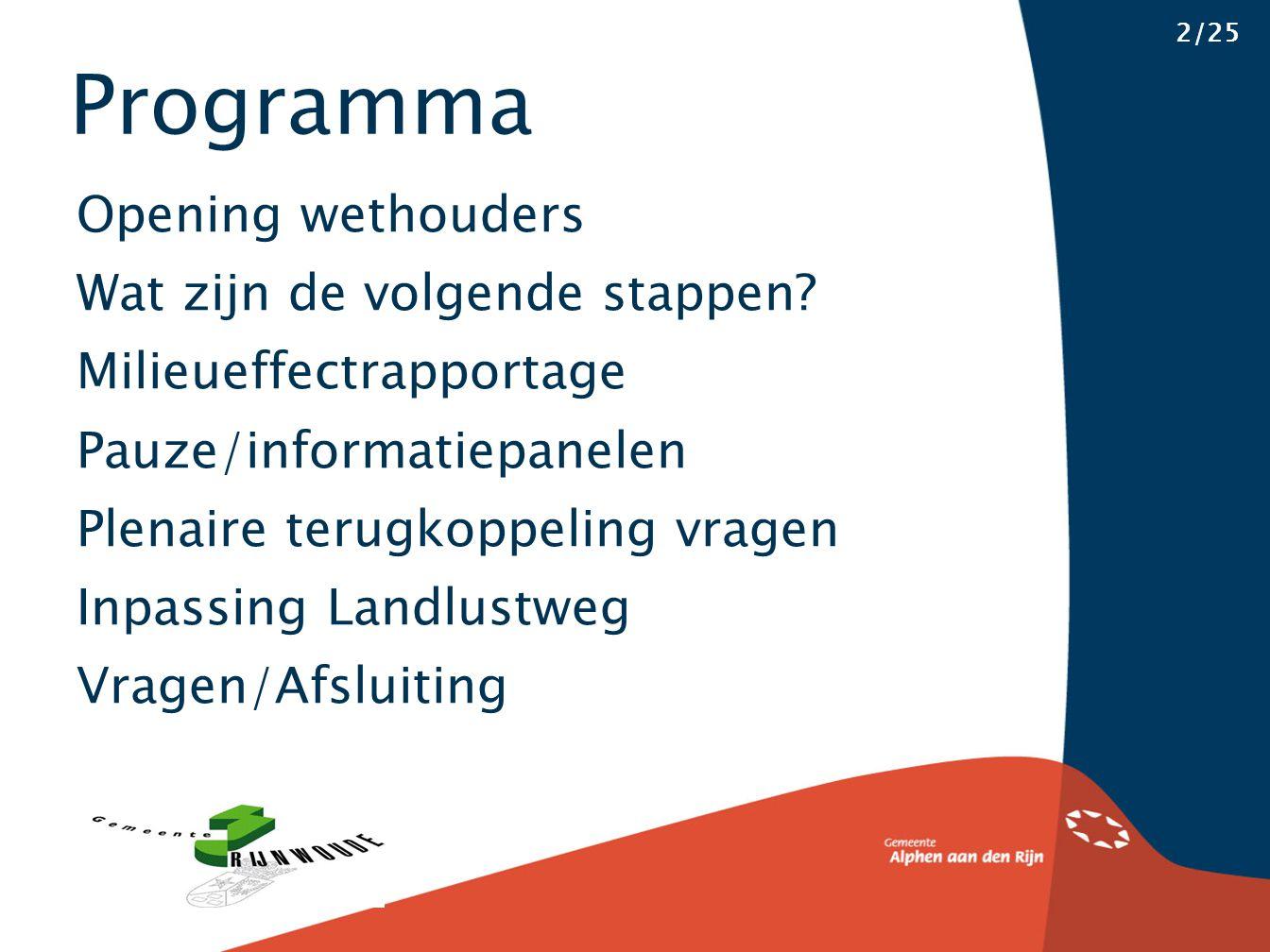 Programma 2/25 Opening wethouders Wat zijn de volgende stappen.