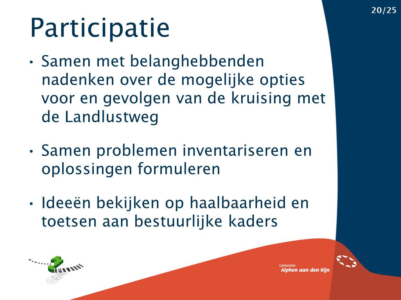 Participatie 20/25 Samen met belanghebbenden nadenken over de mogelijke opties voor en gevolgen van de kruising met de Landlustweg Samen problemen inventariseren en oplossingen formuleren Ideeën bekijken op haalbaarheid en toetsen aan bestuurlijke kaders