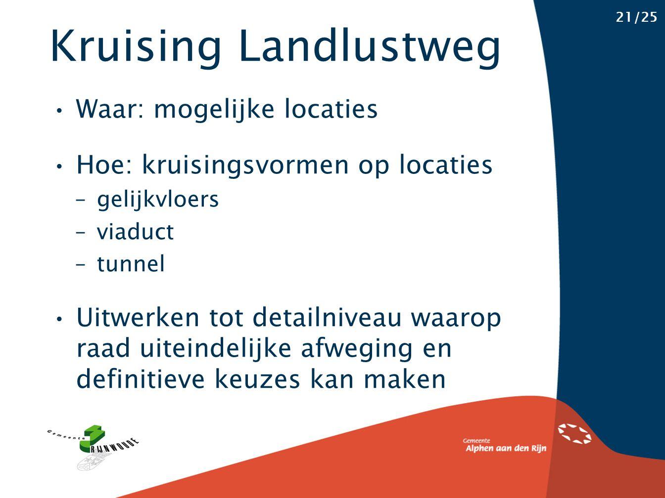 Kruising Landlustweg 21/25 Waar: mogelijke locaties Hoe: kruisingsvormen op locaties – gelijkvloers – viaduct – tunnel Uitwerken tot detailniveau waar