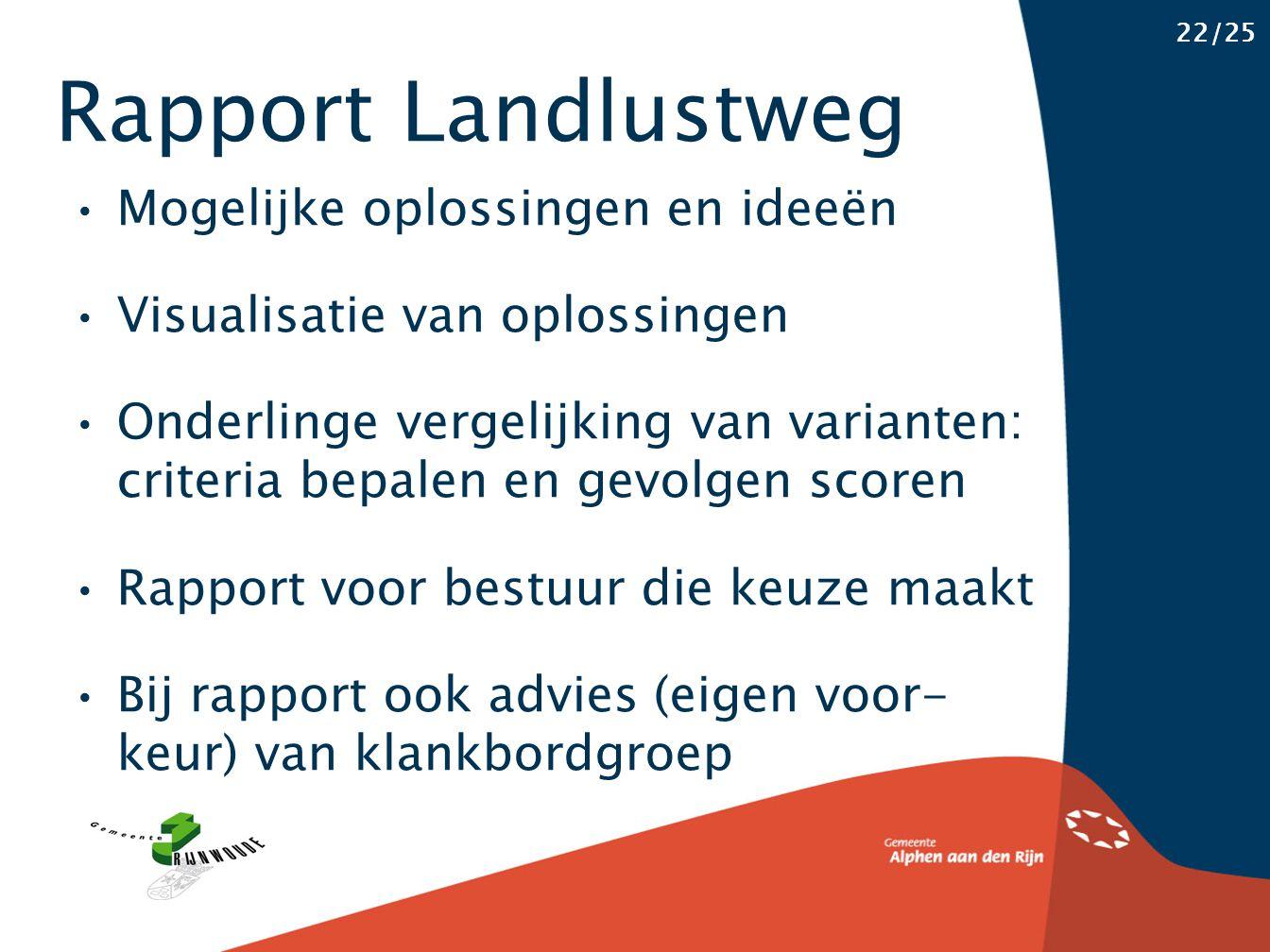 Rapport Landlustweg 22/25 Mogelijke oplossingen en ideeën Visualisatie van oplossingen Onderlinge vergelijking van varianten: criteria bepalen en gevo