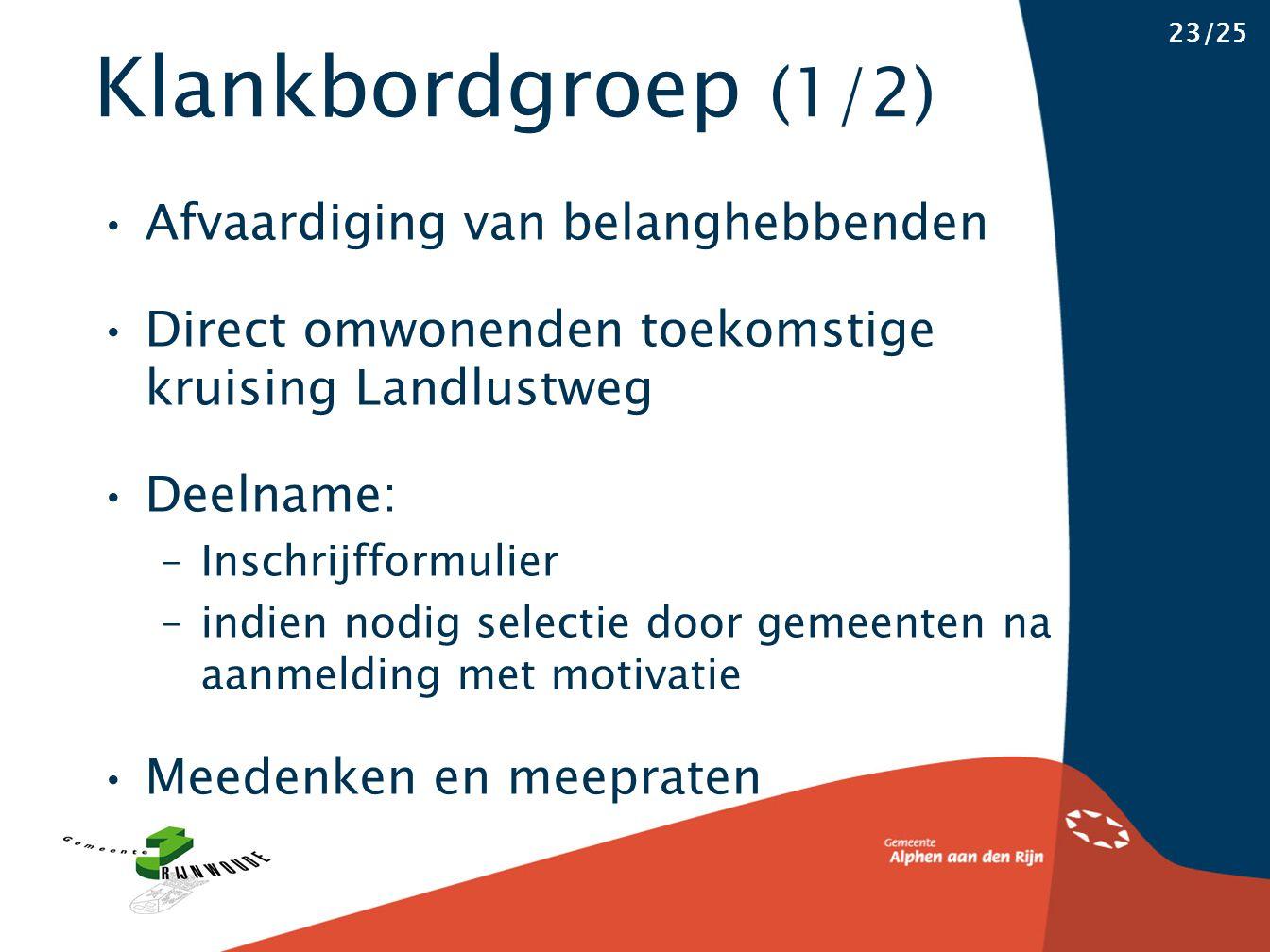 Klankbordgroep (1/2) 23/25 Afvaardiging van belanghebbenden Direct omwonenden toekomstige kruising Landlustweg Deelname: –Inschrijfformulier –indien n