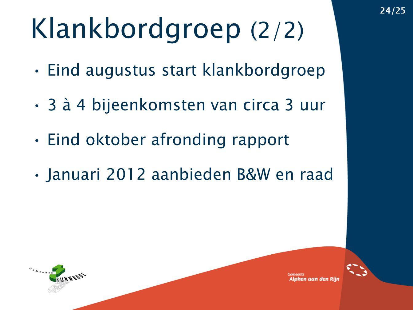 Klankbordgroep (2/2) 24/25 Eind augustus start klankbordgroep 3 à 4 bijeenkomsten van circa 3 uur Eind oktober afronding rapport Januari 2012 aanbiede