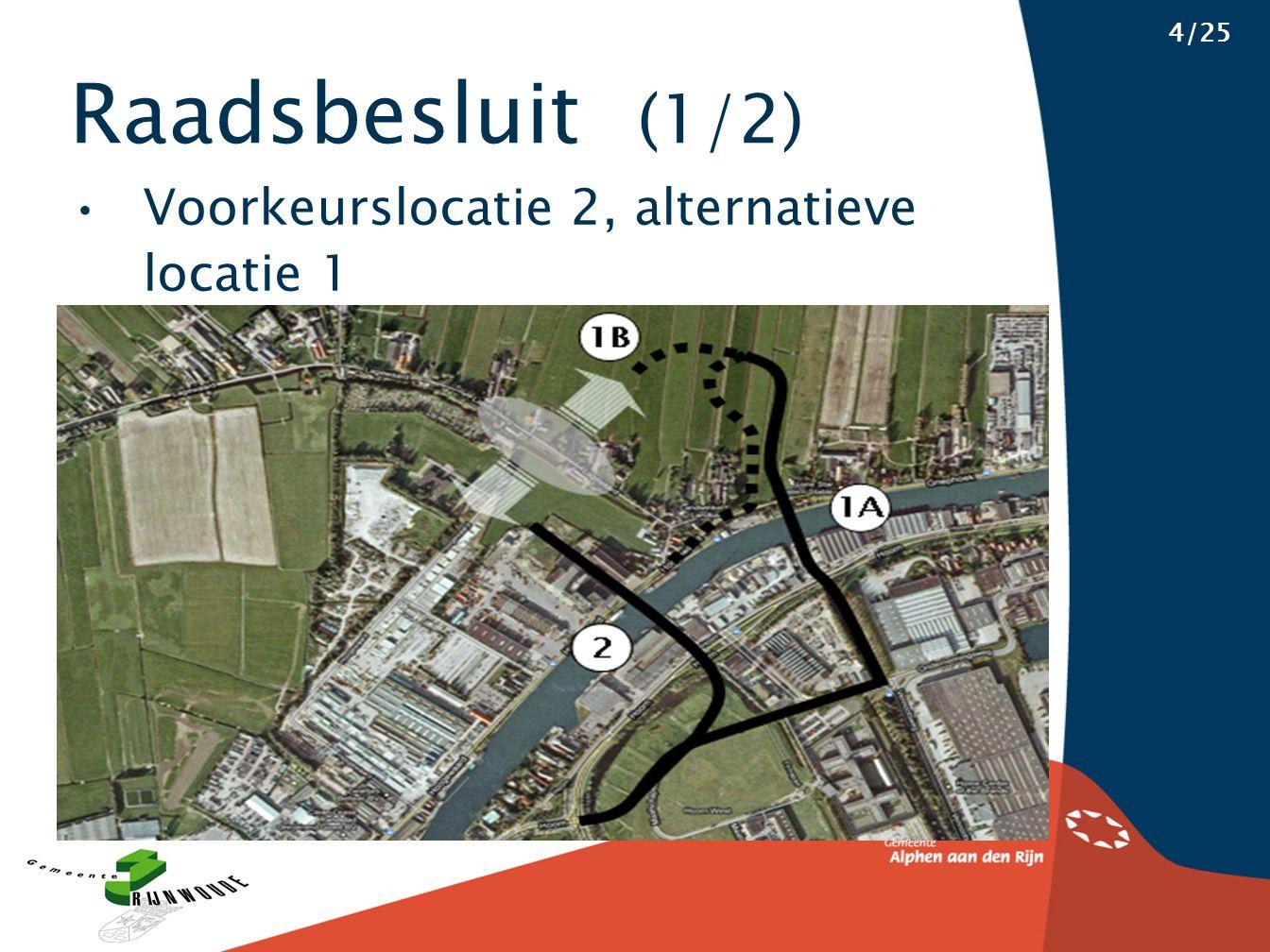 Raadsbesluit (1/2) 4/25 Voorkeurslocatie 2, alternatieve locatie 1