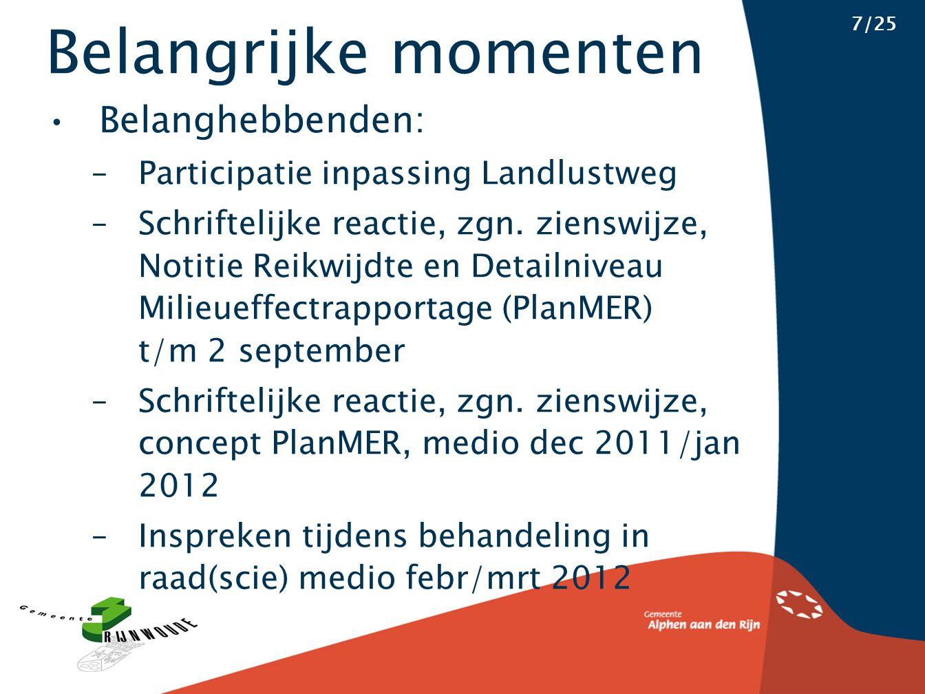 Belangrijke momenten 7/25 Belanghebbenden: –Participatie inpassing Landlustweg –Schriftelijke reactie, zgn. zienswijze, Notitie Reikwijdte en Detailni