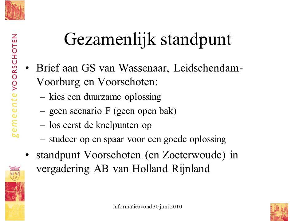 informatieavond 30 juni 2010 Gezamenlijk standpunt Brief aan GS van Wassenaar, Leidschendam- Voorburg en Voorschoten: –kies een duurzame oplossing –ge