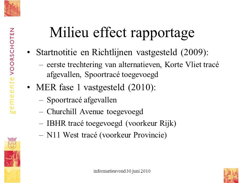informatieavond 30 juni 2010 Milieu effect rapportage Startnotitie en Richtlijnen vastgesteld (2009): –eerste trechtering van alternatieven, Korte Vli