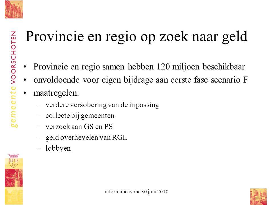 informatieavond 30 juni 2010 Provincie en regio op zoek naar geld Provincie en regio samen hebben 120 miljoen beschikbaar onvoldoende voor eigen bijdr
