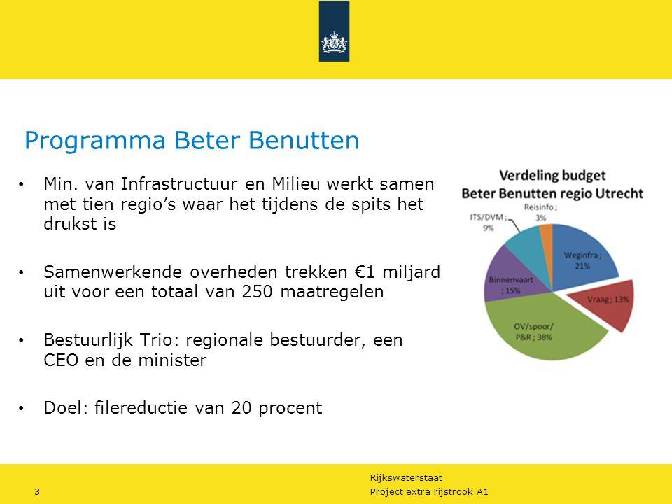 Rijkswaterstaat 3Project extra rijstrook A1 Programma Beter Benutten Min. van Infrastructuur en Milieu werkt samen met tien regio's waar het tijdens d