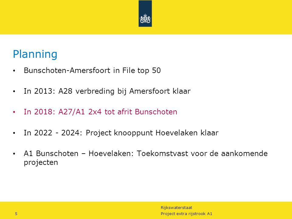 Rijkswaterstaat 5Project extra rijstrook A1 Planning Bunschoten-Amersfoort in File top 50 In 2013: A28 verbreding bij Amersfoort klaar In 2018: A27/A1