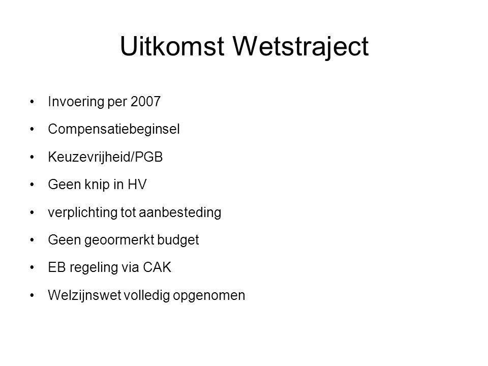 Uitkomst Wetstraject Invoering per 2007 Compensatiebeginsel Keuzevrijheid/PGB Geen knip in HV verplichting tot aanbesteding Geen geoormerkt budget EB