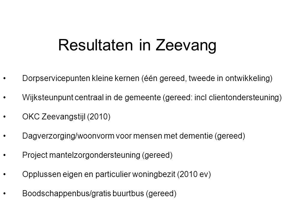 Resultaten in Zeevang Dorpservicepunten kleine kernen (één gereed, tweede in ontwikkeling) Wijksteunpunt centraal in de gemeente (gereed: incl cliento