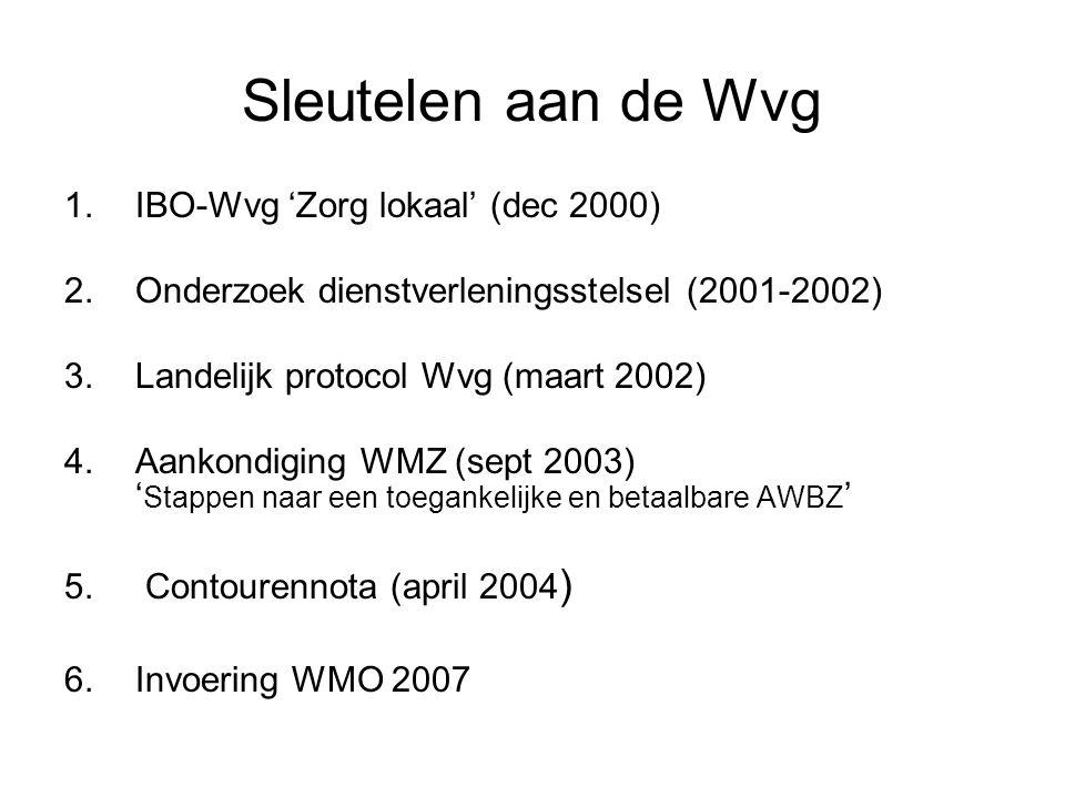 Sleutelen aan de Wvg 1.IBO-Wvg 'Zorg lokaal' (dec 2000) 2.Onderzoek dienstverleningsstelsel (2001-2002) 3.Landelijk protocol Wvg (maart 2002) 4.Aankondiging WMZ (sept 2003) ' Stappen naar een toegankelijke en betaalbare AWBZ ' 5.