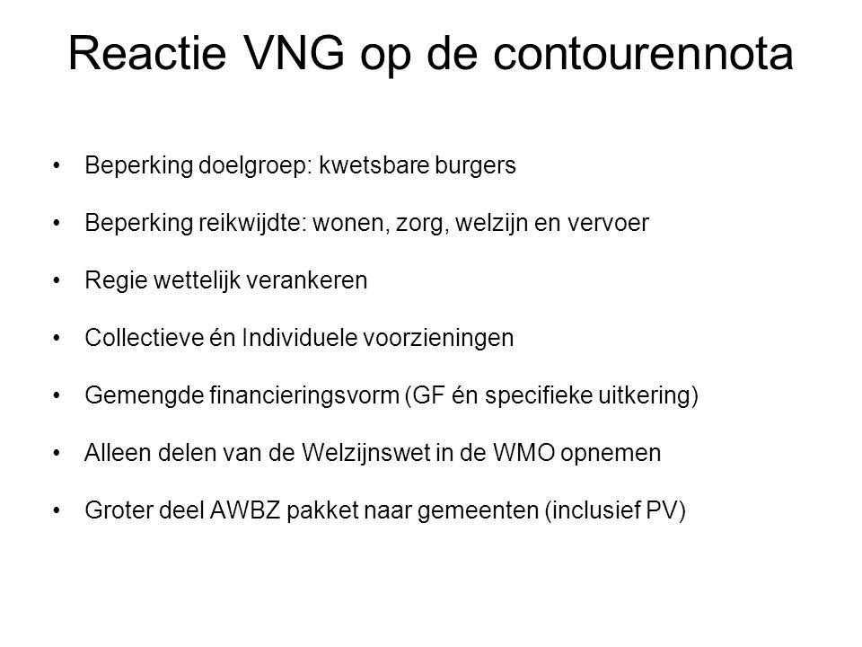 Reactie VNG op de contourennota Beperking doelgroep: kwetsbare burgers Beperking reikwijdte: wonen, zorg, welzijn en vervoer Regie wettelijk verankere