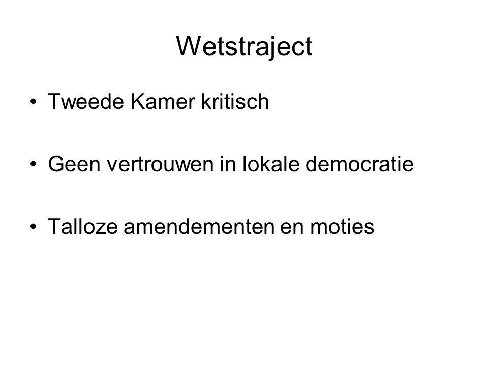 Wetstraject Tweede Kamer kritisch Geen vertrouwen in lokale democratie Talloze amendementen en moties