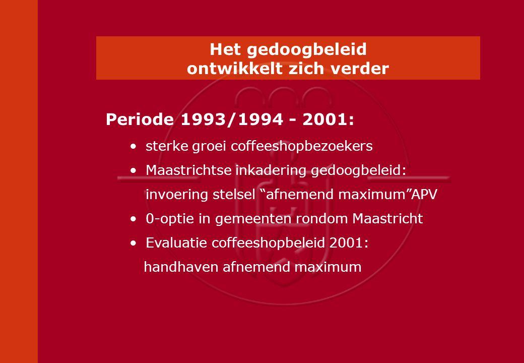 Periode 1993/1994 - 2001:sterke groei coffeeshopbezoekers Maastrichtse inkadering gedoogbeleid: invoering stelsel afnemend maximum APV 0-optie in gemeenten rondom Maastricht Evaluatie coffeeshopbeleid 2001: handhaven afnemend maximum Het gedoogbeleid ontwikkelt zich verder