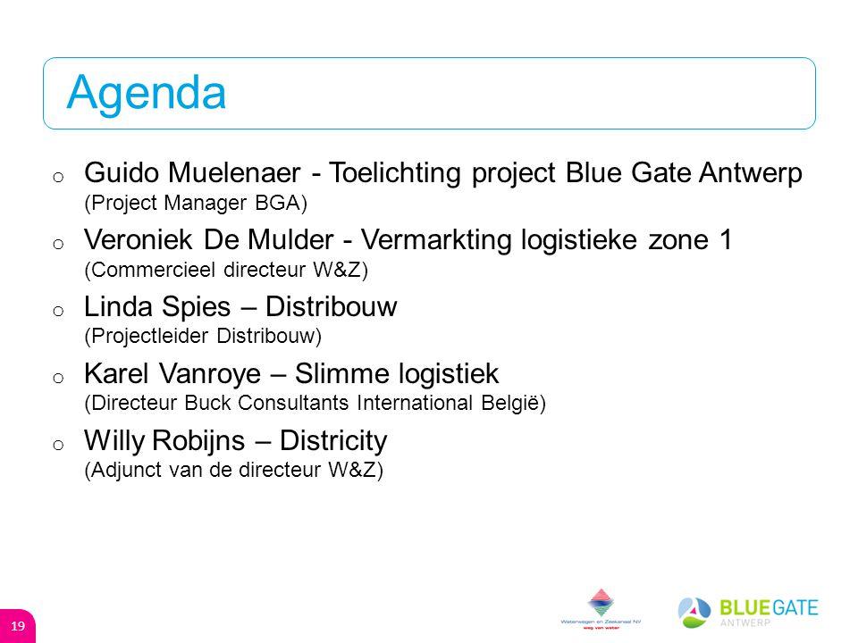 PPS o Bedrijventerrein - Participatieve PPS - Concurrentiedialoog: 2013 - Definitieve overeenkomst: september 2014 o Logistieke zone - Eerste fase: W&Z - Tweede fase: Blue Gate Antwerp 18