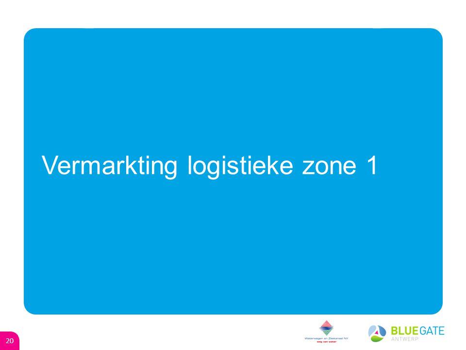 19 Agenda oGoGuido Muelenaer - Toelichting project Blue Gate Antwerp (Project Manager BGA) oVoVeroniek De Mulder - Vermarkting logistieke zone 1 (Commercieel directeur W&Z) oLoLinda Spies – Distribouw (Projectleider Distribouw) oKoKarel Vanroye – Slimme logistiek (Directeur Buck Consultants International België) oWoWilly Robijns – Districity (Adjunct van de directeur W&Z)