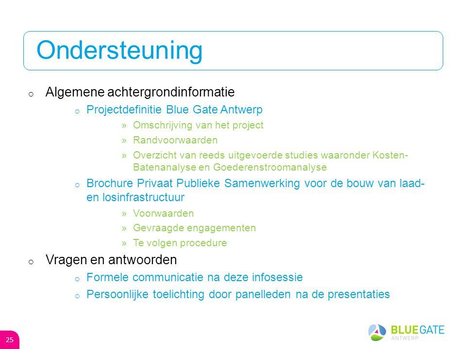 Beoordeling van uw project o W&Z criteria (25%) o Toegevoegde waarde per m² o Tewerkstelling arbeiders en bedienden per ha o Milieuklasse van het bedrijf o Clusteringsmogelijkheden o Ambitieniveau (25%) o Aansluiting op de ambitie van Blue Gate Antwerp o Uitkoopformule (25%) o Blue Gate Antwerp kan vanaf het 5 de jaar de concessie overnemen o Uitkoopformule = door u gevraagde compensatie o Prijs/m²/jaar (25%) 24