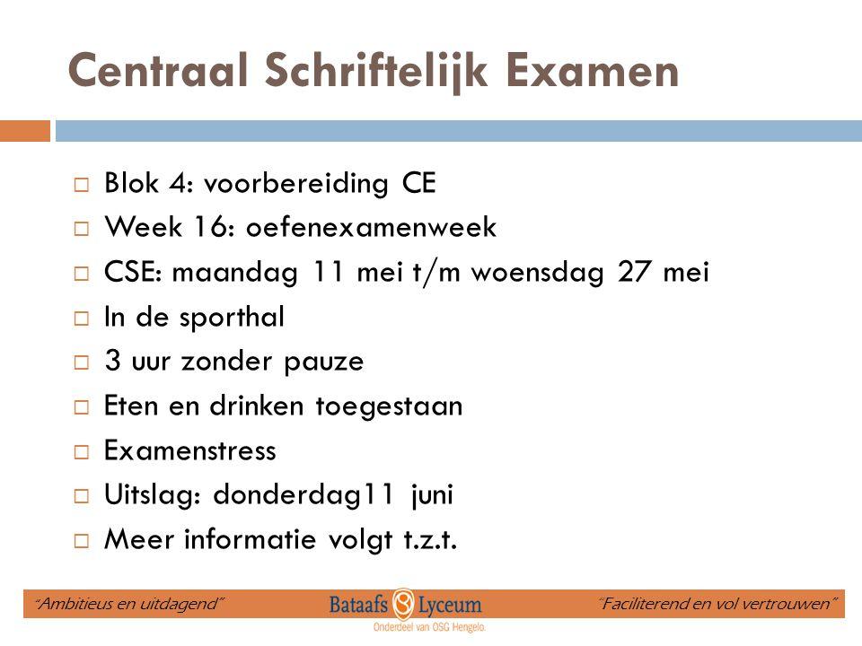 Centraal Schriftelijk Examen  Blok 4: voorbereiding CE  Week 16: oefenexamenweek  CSE: maandag 11 mei t/m woensdag 27 mei  In de sporthal  3 uur