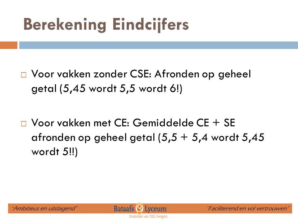 Berekening Eindcijfers  Voor vakken zonder CSE: Afronden op geheel getal (5,45 wordt 5,5 wordt 6!)  Voor vakken met CE: Gemiddelde CE + SE afronden