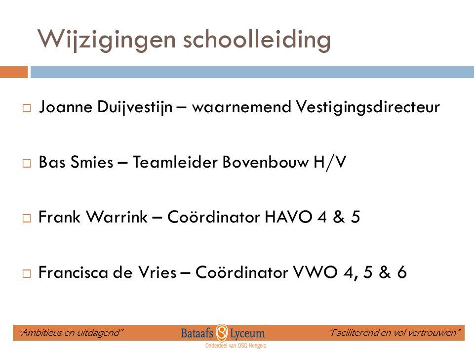 Wijzigingen schoolleiding  Joanne Duijvestijn – waarnemend Vestigingsdirecteur  Bas Smies – Teamleider Bovenbouw H/V  Frank Warrink – Coördinator H