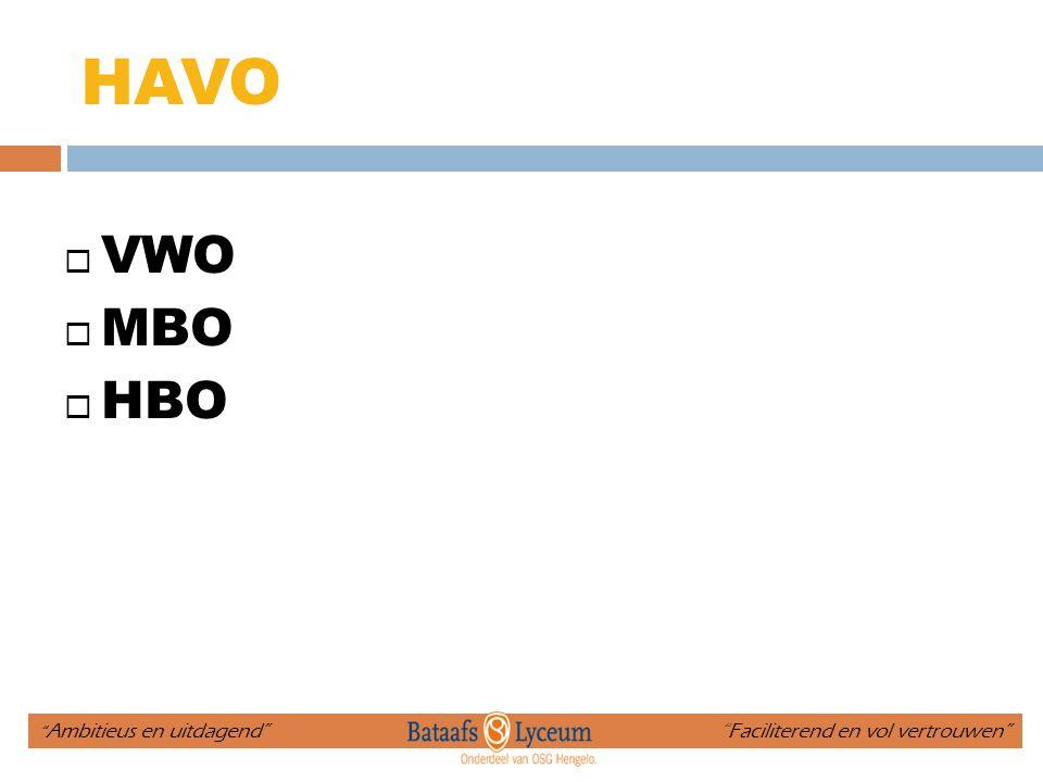 """HAVO  VWO  MBO  HBO """" Ambitieus en uitdagend"""" """"Faciliterend en vol vertrouwen"""""""