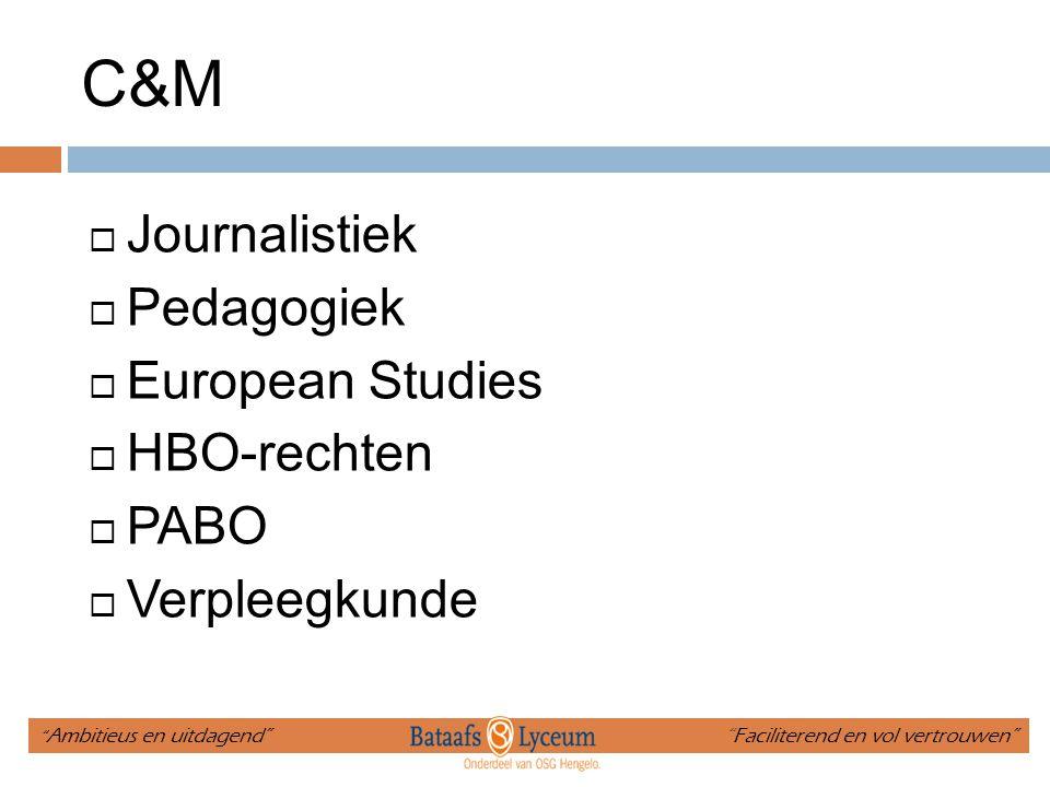 """C&M  Journalistiek  Pedagogiek  European Studies  HBO-rechten  PABO  Verpleegkunde """" Ambitieus en uitdagend"""" """"Faciliterend en vol vertrouwen"""""""