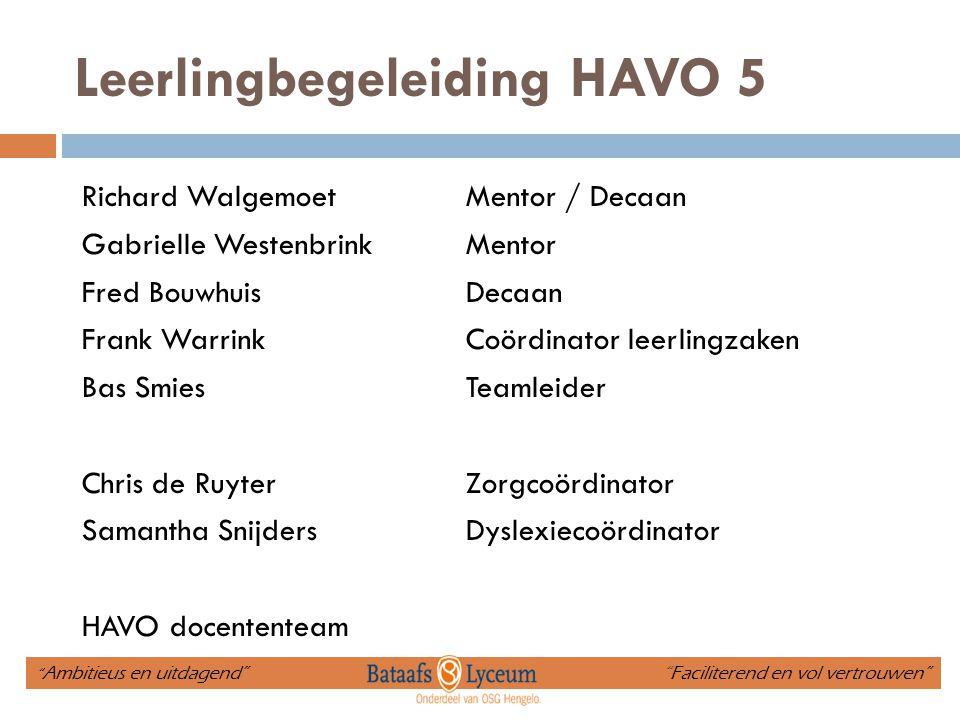 Leerlingbegeleiding HAVO 5 Richard WalgemoetMentor / Decaan Gabrielle Westenbrink Mentor Fred BouwhuisDecaan Frank WarrinkCoördinator leerlingzaken Ba