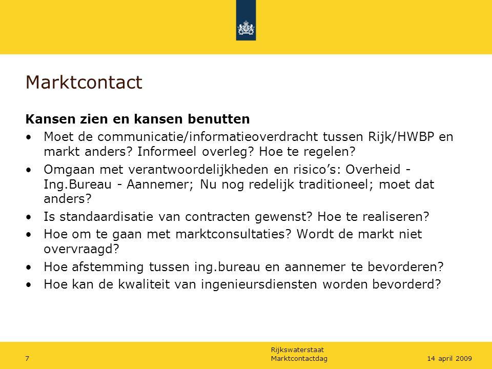 Rijkswaterstaat Marktcontactdag714 april 2009 Marktcontact Kansen zien en kansen benutten Moet de communicatie/informatieoverdracht tussen Rijk/HWBP en markt anders.