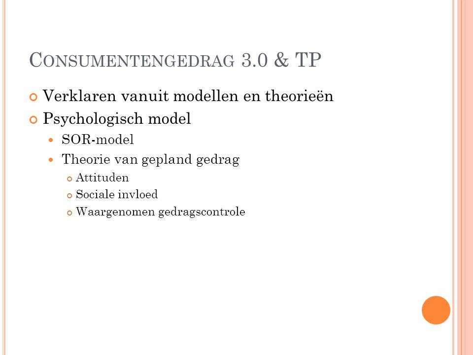 C ONSUMENTENGEDRAG 3.0 & TP Verklaren vanuit modellen en theorieën Psychologisch model SOR-model Theorie van gepland gedrag Attituden Sociale invloed