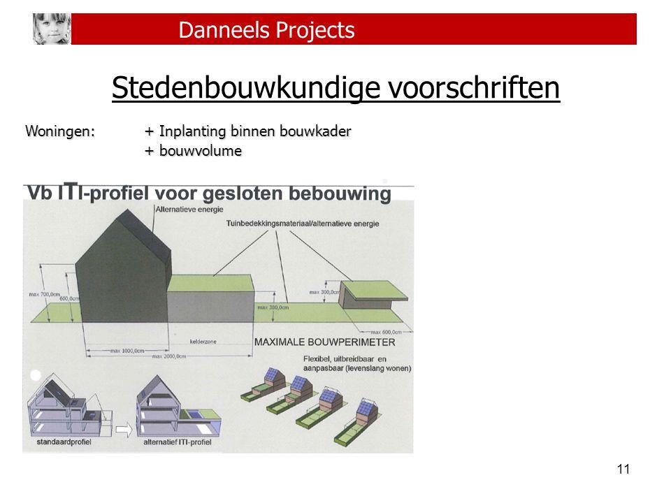 11 Danneels Projects Stedenbouwkundige voorschriften Woningen:+ Inplanting binnen bouwkader + bouwvolume