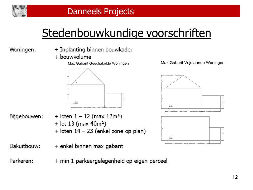 12 Danneels Projects Stedenbouwkundige voorschriften Woningen:+ Inplanting binnen bouwkader + bouwvolume Bijgebouwen:+ loten 1 – 12 (max 12m²) + lot 1