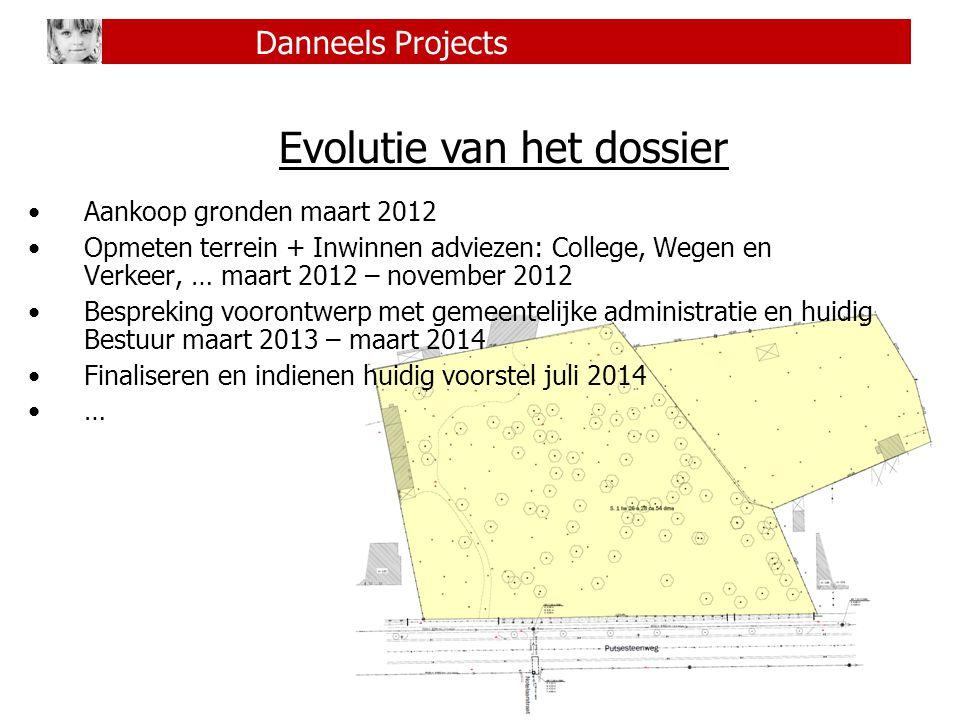 6 Danneels Projects Evolutie van het dossier Aankoop gronden maart 2012 Opmeten terrein + Inwinnen adviezen: College, Wegen en Verkeer, … maart 2012 –