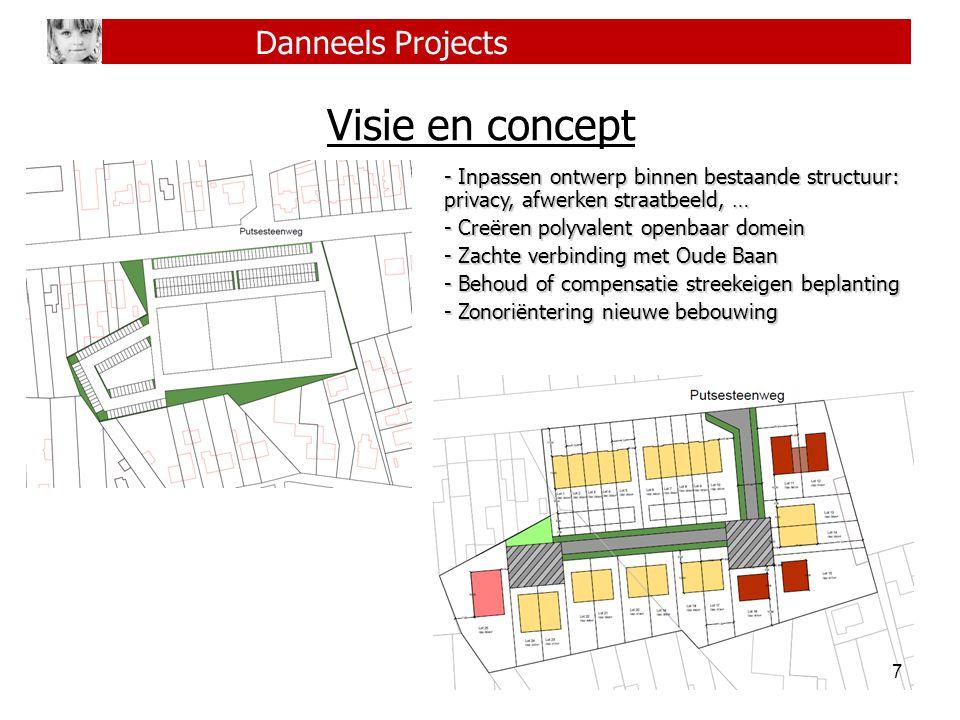 7 Danneels Projects Visie en concept - Inpassen ontwerp binnen bestaande structuur: privacy, afwerken straatbeeld, … - Creëren polyvalent openbaar dom