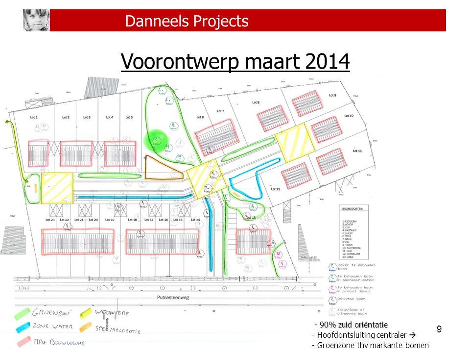 9 Danneels Projects Voorontwerp maart 2014 - 90% zuid oriëntatie - 90% zuid oriëntatie - Hoofdontsluiting centraler  - Groenzone thv markante bomen