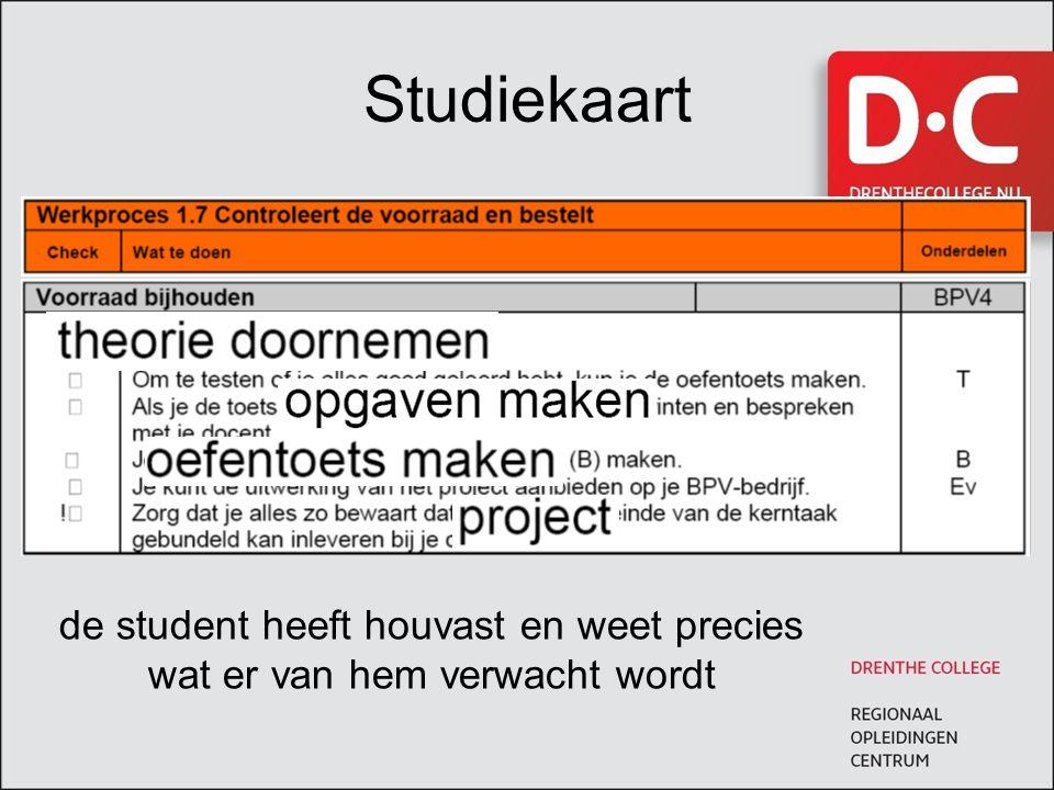 Studiekaart de student heeft houvast en weet precies wat er van hem verwacht wordt