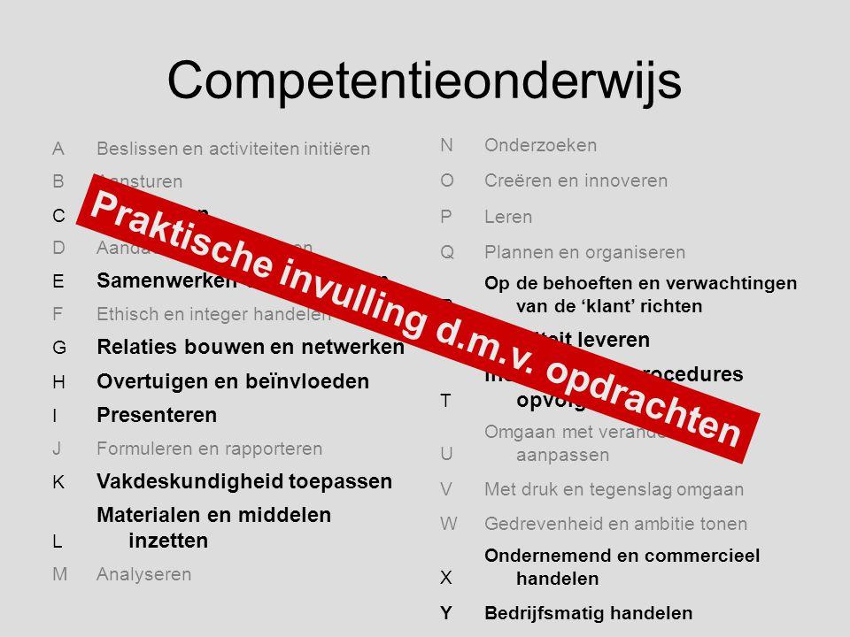 Competentieonderwijs ABeslissen en activiteiten initiëren BAansturen C Begeleiden DAandacht en begrip tonen E Samenwerken en overleggen FEthisch en in