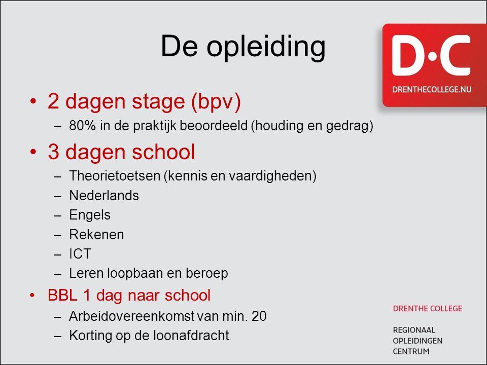 De opleiding 2 dagen stage (bpv) –80% in de praktijk beoordeeld (houding en gedrag) 3 dagen school –Theorietoetsen (kennis en vaardigheden) –Nederland