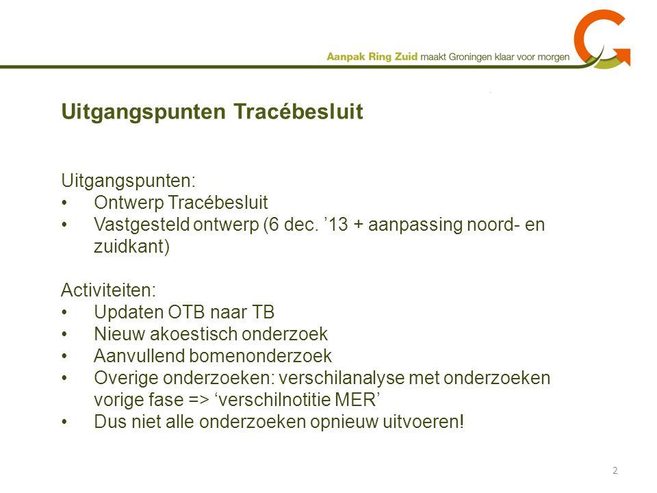 Uitgangspunten: Ontwerp Tracébesluit Vastgesteld ontwerp (6 dec. '13 + aanpassing noord- en zuidkant) Activiteiten: Updaten OTB naar TB Nieuw akoestis
