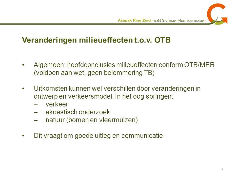 Algemeen: hoofdconclusies milieueffecten conform OTB/MER (voldoen aan wet, geen belemmering TB) Uitkomsten kunnen wel verschillen door veranderingen i